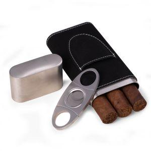 Harrison Black Leather Cigar Case