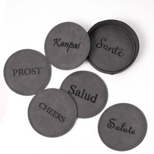 Cheers 6 Coaster Set with Holder in Vintage Grey Leatherette